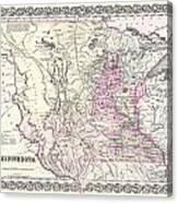 1855 Colton Map Of Minnesota Canvas Print