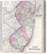 1855 Colton Map Of New Jersey Canvas Print