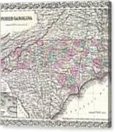 1855 Colton Map Of North Carolina Canvas Print