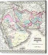1855 Colton Map Of Persia Afghanistan And Arabia Canvas Print