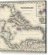 1855 Colton Map Of The West Indies Canvas Print
