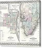 1855 Colton Plan Or Map Of Charleston South Carolina And Savannah Georgia Canvas Print