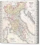 1856 Desilver Map Of Northern Italy Canvas Print