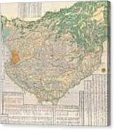 1856 Japanese Edo Period Woodblock Map Of Musashi Kuni Tokyo Or Edo Province Canvas Print