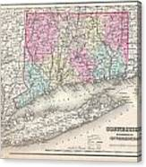 1857 Colton Map Of Connecticut And Long Island Canvas Print