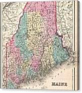 1857 Colton Map Of Maine Canvas Print