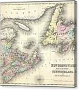 1857 Colton Map Of New Brunswick And Newfoundland Canada Canvas Print