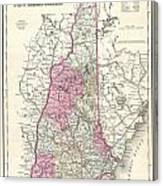 1857 Colton Map Of New Hampshire Canvas Print