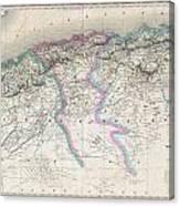 1857 Dufour Map Of Algeria Canvas Print