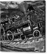 1862 Gov. Stanford First Locomotive Black And White Canvas Print