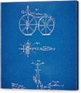 1866 Velocipede Bicycle Patent Blueprint Canvas Print