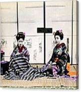1870 Japanese Geisha In Drawing Room Canvas Print