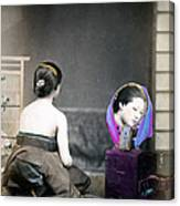 1870 Japanese Woman In Her Dressing Room Canvas Print