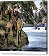 1870s Brook Trout Fishing - Currier & Canvas Print