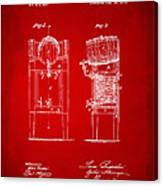 1876 Beer Keg Cooler Patent Artwork Red Canvas Print