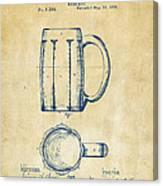 1876 Beer Mug Patent Artwork - Vintage Canvas Print
