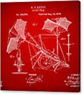 1879 Quinby Aerial Ship Patent - Red Canvas Print