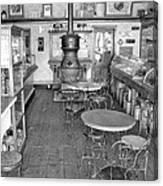 1880 Drug Store Black And White Canvas Print