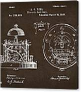 1881 Alexander Graham Bell Electric Call Bell Patent Espresso Canvas Print