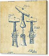 1883 Wine Corckscrew Patent Artwork - Vintage Canvas Print