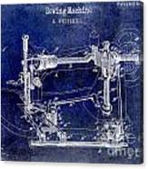 1885 Sewing Machine Patent Drawing Blue Canvas Print