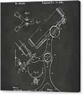 1886 Microscope Patent Artwork - Gray Canvas Print