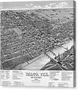 1886 Vintage Map Of Waco Texas Canvas Print