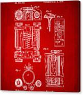 1889 First Computer Patent Red Canvas Print