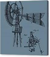 1889 Windmill On Blue Canvas Print