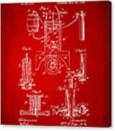 1890 Bottling Machine Patent Artwork Red Canvas Print