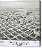 1890 Vintage Map Of Childress Texas Canvas Print