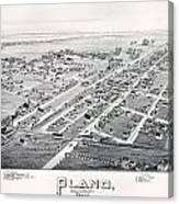 1890 Vintage Map Of Plano Texas Canvas Print