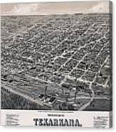 Vintage Perspective Map Of Texarkana Canvas Print
