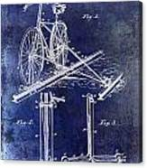 1891 Bicycle Patent Drawing Blue Canvas Print
