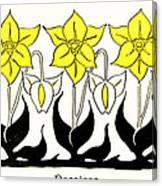 1897 Jugend Print Art Nouveau Motifs Flowers Narcissus Daffodil  Canvas Print