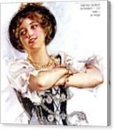 1900s 1913 Smiling German Girl Wearing Canvas Print