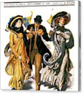 1900s Stylish Man With Two Women Canvas Print