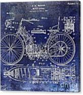 1901 Motorcycle Patent Drawing Blue Canvas Print