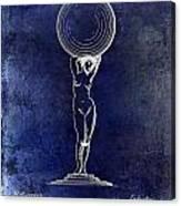 1901 Wine Glass Design Patent Blue Canvas Print