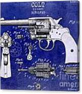 1903 Colt Revolver Patent Drawing Blue 2 Tone Canvas Print