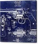 1903 Colt Revolver Patent Drawing Blue Canvas Print