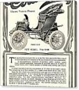 1907 - Columbia Victoria Phaeton Electric Automobile Advertisement Canvas Print
