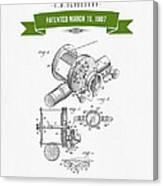 1907 Fishing Reel Patent Drawing - Green Canvas Print