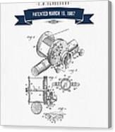 1907 Fishing Reel Patent Drawing - Navy Blue Canvas Print
