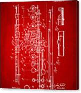 1908 Flute Patent - Red Canvas Print