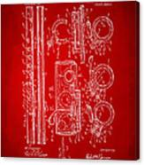 1909 Flute Patent In Red Canvas Print