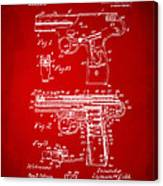 1911 Automatic Firearm Patent Artwork - Red Canvas Print