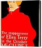1913 - Mcclures Magazine Poster Advertisement - Ellen Terry - Color Canvas Print