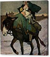 1913 Jugend Art Print Woman Riding Dunkey Suckling Baby Hard Tim Canvas Print