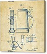 1914 Beer Stein Patent Artwork - Vintage Canvas Print